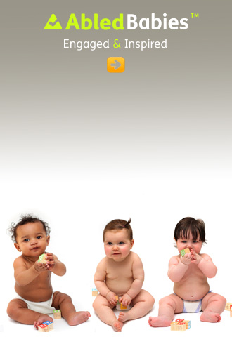 AbledBabies link button shows 3 babies sitting side by side in their diapers