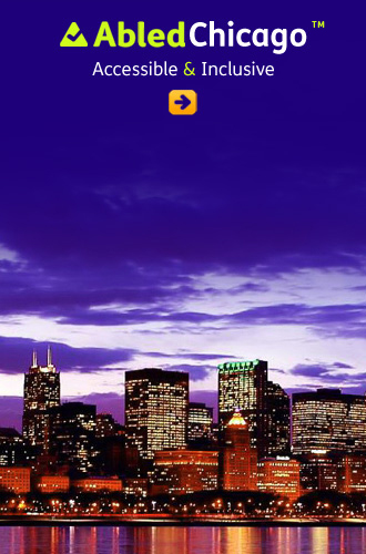 AbledChicago link button shows the Chicago skyline at dusk with violet clouds in the sky