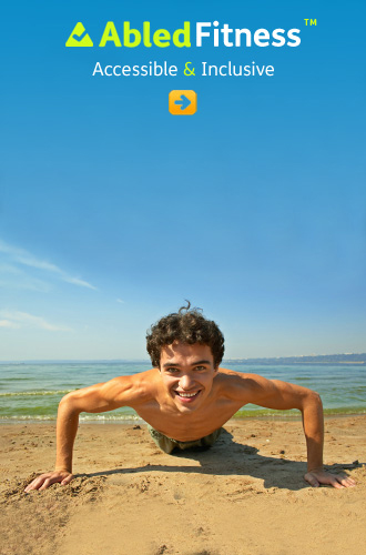 AbledFitness link button shows a smiling and shirtless young man with dark curly hair doing push-ups on a beach by the ocean on a nice sunny day