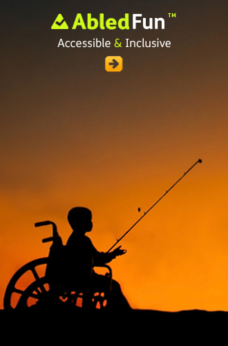 AblkedFun link button shows a silhouette of a young boy in a wheelchair fishing at dusk against a brilliant orange sunset