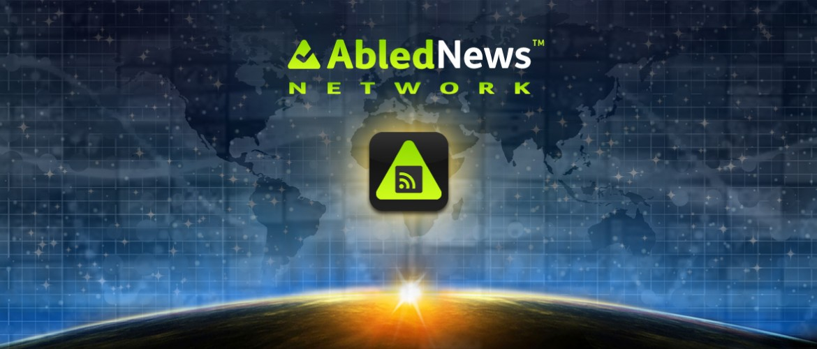AbledNews Network Banner shows a sunrise over the curve of the Earth as seen from space arcing across the bottom with the AbledNews logo and icon consisting of an RSS icon over the gradient green rounded triangle of the Abled logo set inside a rounded square icon box in the foreground against a backdrop of stars , tv monitors and a digital map of earth blended together.
