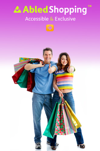 AbledShopping link button shows a man and woman posing for the camera holding various shopping bags