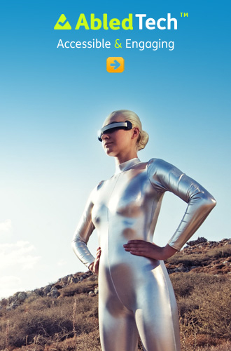 AbledTech link button shows a woman dressed in a silver mylar pantsuit wearing virtual glasses standing on a hill on a sunny day