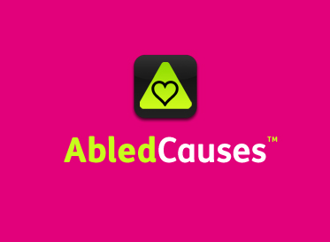 AbledCauses banner shows a line drawing of a heart inside the gradient green rounded triangle of the Abled icon.