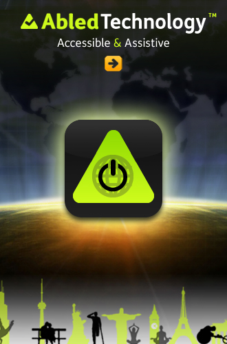 AbledTechnology Icon shows a power button icon set against a globe set inside a gradient green triangle that represents the 'A' in Abled surrounded by a black rounded square icon shape