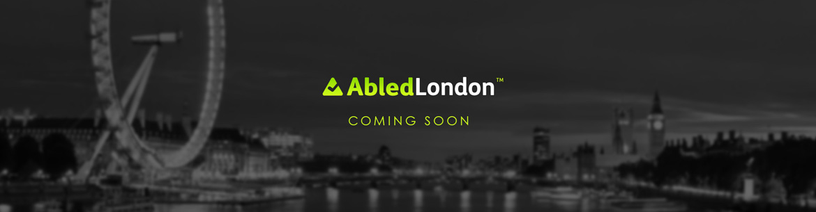 AbledLondon-Coming Soon banner shows the cityscape of london in black and white at night with the AbledLondon logo and the words Coming Soon.