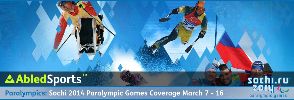 AbledSPorts Post Banner for coverage of the Sochi 2014 Paralympics features a banner of various shades of blue with images of a paralympian skiier, snowboarder and other athletes appearing through cut-outs of ice crystals in the banner.