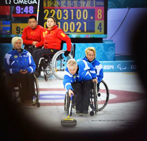Jalle Jungnell of Sweden in action during the wheelchair curling round robin session 5 match between Sweden and China at the Ice Cube Curling Center.