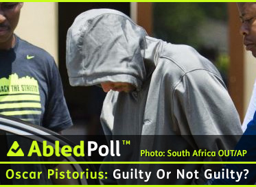 AbledPoll Banner shows a photo of Oscar Pistorius dressed in a grey hooded sweat top as he leaves the Boschkop police station, east of Pretoria, South Africa, Thursday, Feb. 14, 2013 en route to appear in court charged with murder.