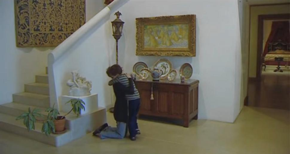 AbledCauses - photo shows Ben Pierce hugging his mother after being taken to see Vincent van Gogh's famous painting 'Haystacks' at the Dallas Art Museum.