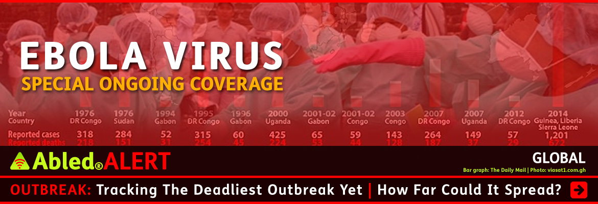 AbledALERT: Outbreak Post link Banner shows an image of health care workers wearing protective clothing including pink rubber gloves and face masks. The image is half dissolved with a horizontal timeline of ebola cases ranging from 318 reported cases and 218 deaths in the Democratic Republic of the Congo in 1976 to 1,201 cases and 672 deaths (at the time the graphic was made) in 2014 in Guinea, Liberia and Sierra Leone. The headline reads: Tracking the deadliest outbreak yet. How far could it spread? Click here to go to the coverage.