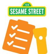 AbledKids photo shows the sesame street logo above a graphical representation of a checklist and a flashlight.