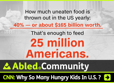 AbledCommunity: CNN: Why so many hungry kids in U.S.? Image: Text over faded photo of garbage bags reads: How much uneaten food is thrown out in the US yearly: 40 percent or about $165 billion worth. That's enough to feed 25 million Americans.