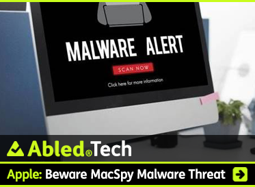 AbledTech: Apple: ZBeware MacSpy Malware Threat. Image shows computer screen with the text MALWARE ALERT.