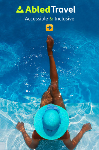 AbledTravel network link shows a tanned woman with a turquoise blue wide-brimmed hat being photographed from above while sitting in a swimming pool