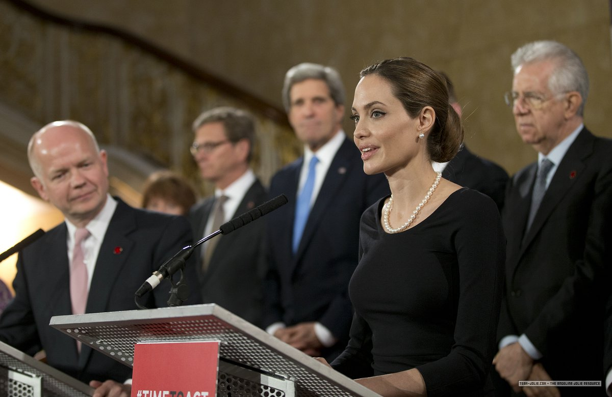 Angelina Jolie at the G8 Summit in London, calls for an end to sexual violence in conflict zones.