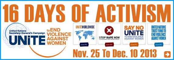 AbledEvents-link banner to the United Nations Website to End Violence Against Women and it's 16 Days of Activism from November 25th to December 10th as part of the U-N Secretary Generals Unite TO End Violence Against Women Campaign. Click here to go to the website.