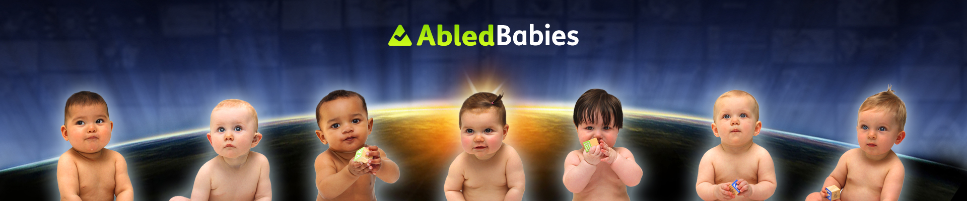 AbledBabies banner shows babies in diapers sitting side by side with the photo backdrop of the horizontal curve of the earth at sunrise.