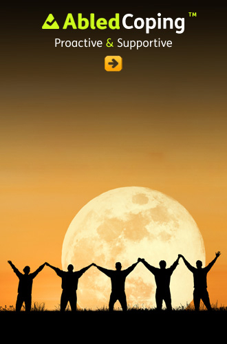 AbledCoping link button shows a silhouette of 5 people standing side-by-side with upraised linked hands against a glowing yellow-orange moonset