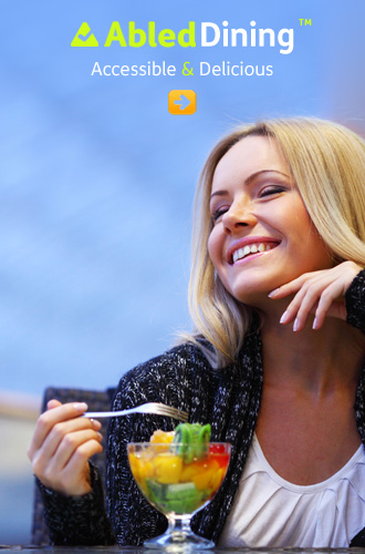 AbledDining link button shows a young woman smiling while eating a bowl of fruit
