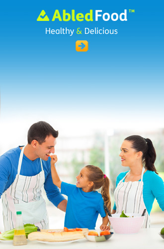 AbledFood link button shows a mother and father cooking with their young daughter dressed in blue shirts with white kitchen aprons.
