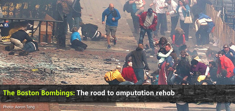 AbledHealth Boston Bombings - the journey to amputation rehab shows the immediate chaos at the scene following the two bombings at the 2013 Boston Marathon