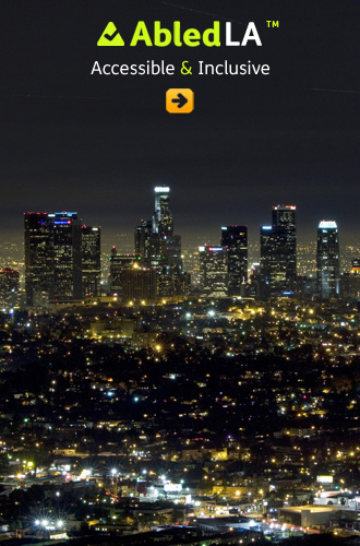 AbledLA shows a cityscape of Los Angeles at night
