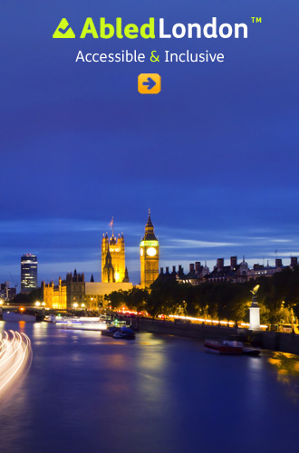 AbledLondon link button shows a London cutyscape at night with Big Ben and the Houses of Parliament lit up