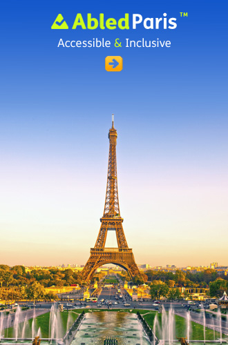 AbledParis link button shows the Eiffel Tower and surrounding area at dusk