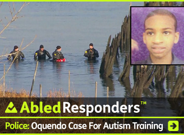 AbledResponders Post Link Banner shows New York City Police Department Divers conferring during the search for the remains if missing autistic teenager Avonte Oquendo whose photo appears as an insert with the title: Police: The Avonte Oquendo Tragedy Spotlights The Need For Police Autism Training. Click here to go to the post.