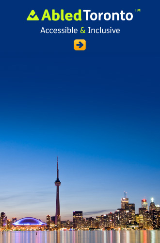 AbledToronto link button shows the Toronto lakefront cityscape with the CN Tower at dusk