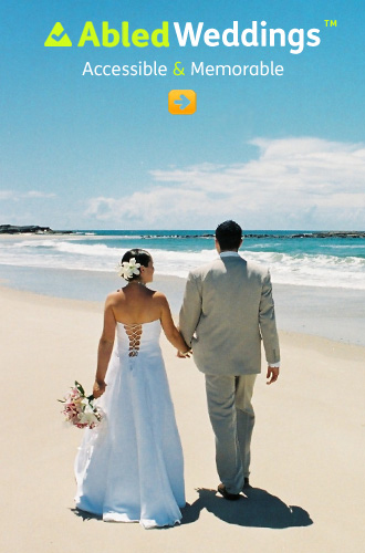 AbledWeddings link button shows a bride and groom walking along a sea-side beach hand in hand