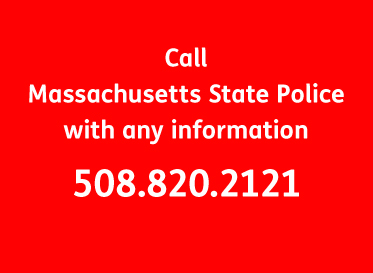 AbledAlert info banner with white text on a red background reads: Call Massachusetts State Police with any information at 508-820-2121.