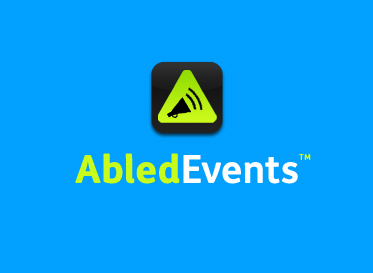AbledEvents Banner box shows the rounded gradient green Abled triangle with a black vector megaphone icon with sound waves emanating from it.
