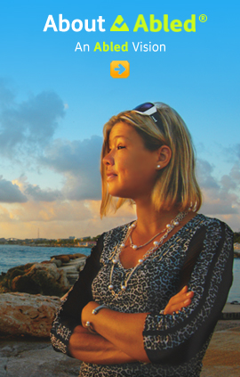 About Abled - An Abled Vision shows Abled.com Co-Founder Laura Meddens photographed at the seaside in Curaçao at dusk. Click to go to the page.