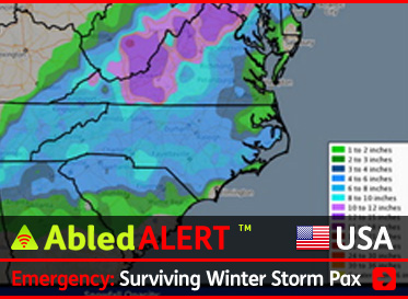 AbledALERT link box shows a map of the eastern United States with weather graphics showing snowfall amounts. The headline reads: Emergency: Surviving Winter Storm Pax. CLick here to go to our coverage of this Alert.