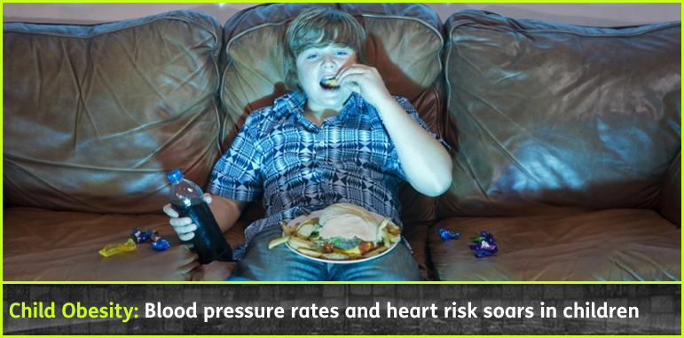 AbledKids headline link banner shows an overweight boy eating junk food while sitting on the couch watching TV with a headline banner that reads: Child Obesity-Blood pressure rates and heart risk soars in children