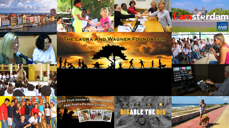 A montage of the Laura And Wagner Foundations activities shows photos of the old Dutch architecture of Punda in Curaçao as well as Laura and her fellow Board members, Laura and Wagner's appearances at local schools, on the radio, and out walking along the seashore, as well as a photo of the I am Amsterdam letter sculpture in Amsterdam.