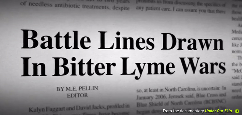 A screengrab from the documentary 'Under Our Skin' shows a closeup of a newspaper with the headline: 'Battle Lines Drawn In Bitter Lyme Wars