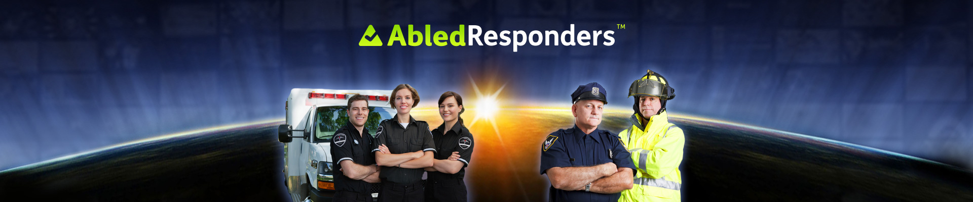 AbledResponders banner shows representatives from Police, Fire and EMS crews