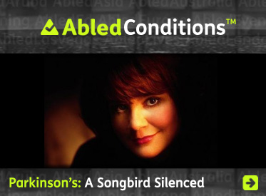 AbledConditions related story link shows a photo of Linda Ronstadt with the headline: Parkinson's: A Songbird Silenced