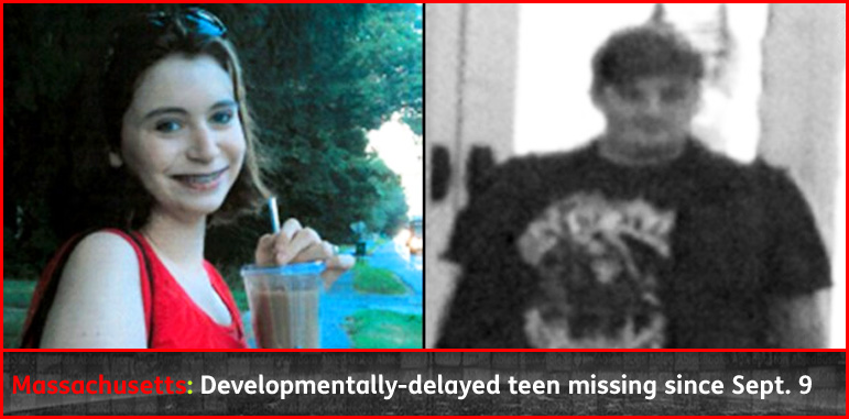 AbledAlert story banner shows a photo of 17 year old Brittany Thompson of Medfield, Massachusetts and a surveillance photo of a heavy-set white man with neatly cut hair.