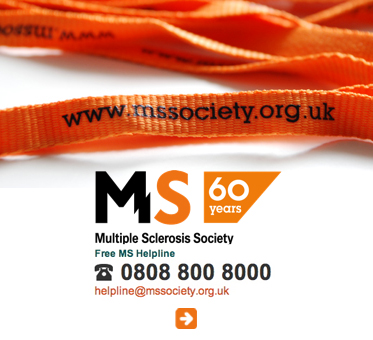 Abled Public Service Ad for the Multiple Sclerosis Society in the United Kingdom showing their toll-free help line 0808 800 8000 under their logo located under a photo of orange  wristbands with their website address printed in black. Click here to go to their website.