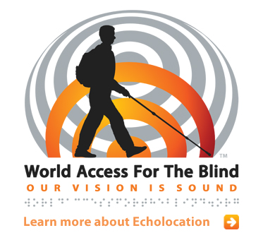 Abled Public Service Ad for World Access For the Blind shows a silhouette of its Founder and President Daniel Kish walking with a long cane against a gradient orange half sonar wave positioned in front of a reflecting grey sonar wave with the subtitle Our Vision Is Sound. Click here to learn more about echolocation for the blind.