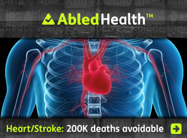 AbledHealth headline link banner shows a computer-generated image of a red heart and arteries visible through a bluish x-ray effect of a human chest that shows the ribcage and the outline of the shoulders and arms with the title: heart Disease and Stroke: 200 thousand deaths avoidable. Click here to go to the story page.