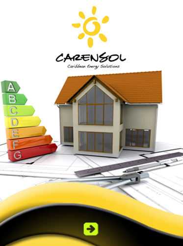 AbledSupporters Ad for Carensol - Caribbean Energy Solutions on the island of Curaçao shows a model house sitting on blueprints with drafting tools and a scale of energy efficiency all under the gold sun and black text logo of Carensol. Click here to visit their website.