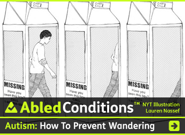 AbledConditions Post Link Banner shows a New York Times illustration by Lauren Nassef depicting three open milk cartons seen at an angle with a 'Missing' message on one side and the image of a male teenager 'walking' through the side panels. The headline reads: Autism: How to prevent children and teens from wandering and how to respond if they do. Click here to go to the post.