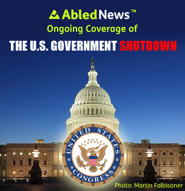 AbledNews Ongoing Coverage of the U.S. Government Shutdown headline is shown over a nightime photograph of the Capitol Building with the seal of Congress shown in the bottom foreground.