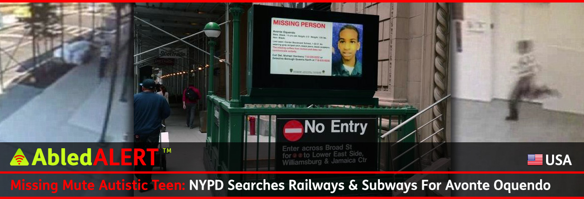 AbledALERT Post banner shows a backlit poster of Avonte Oquendo over a stairwell leading down to a New York City Subway station. The headline reads: Missing: Mute Autistic Teen: NYPD Searches Railways & Subways For Avonte Oquendo.