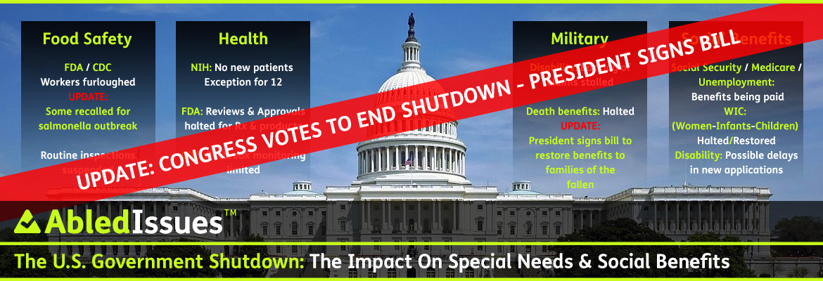 AbledIssues Link Banner shows a photo of the US Capitol building on a sunny day with the headline: US Government Shutdown: Is it impacting Special Needs? Four gradient black to transparent frames flank the Capitol dome as a backdrop to the bullit-point summaries for each category: Food Safety: FDA/CDC Workers furloughed. Update: Some recalled for salmonella outbreak. Routine inspections suspended. Under Health, NIH: No new patients-exception for 12. FDA: Reviews and Approvals halted for Rx and products. CDC: Outbreak monitoring limited. Under the Military summary, Disability: Backlog of claims stalled. Death Benefits: Halted. Update: President signs bill to restore benefits to families of the fallen. And under the final category Social benefits: Social Security/Medicare: Benefits being paid out. Disability: Possible delays in new applications. Unemployment: being paid. A red diagonal transparent banner contains the headline: UPDATE: Congress votes to end shutdown - President Signs Bill. Click to go to the story.